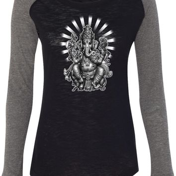 Womens Yoga T-shirt Ganesha Preppy Patch Elbow Tee