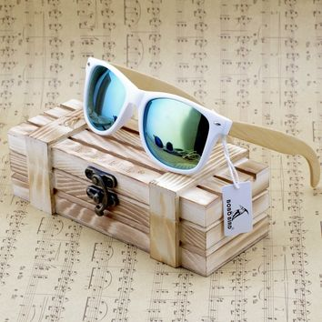 High Quality Transparent White Square Sunglasses With Bamboo Legs Mirrored Polarized Summer Style Travel Eyewear in Wood Box