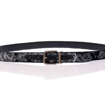Black Leather Cotton Velvet Logo Belt
