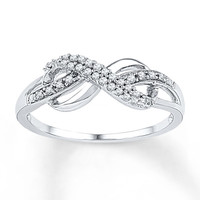 Diamond Infinity Ring 1/10 ct tw Round-Cut Sterling Silver