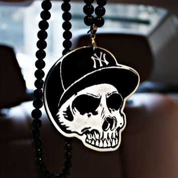 Skull New York Yankees NYY Car Auto Fashion Pendant JDM Hellaflush Rear View Mirror Ornament Hanging Dangle Acrylic Car-Styling