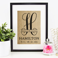 Burlap Monogram   Just Married Gift   Mr and Mrs Established Sign   Personalized Gift for Mom, Newlyweds, Grandparents, Parents, Inlaws