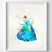 Cinderella Print, Cinderella Watercolor, Type 3, Disney Poster, Illustration, Modern Home Decor, Bathroom Art, Kids Art, Halloween Decor