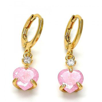 Gold Layered Dangle Earring, Heart Design, with Cubic Zirconia, Gold Tone