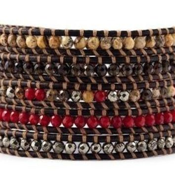 5 Layer Handmade Leather Wrap Bracelet with Red Coral, Smoky Quartz, Pyrite on sippa leather