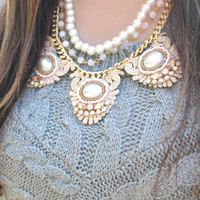 Marie Antoinette Statement Necklace in Pearl