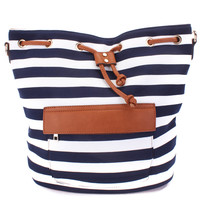 Navy White Horizontal Striped Design Faux Leather Lining Cute Beach Tote Purse