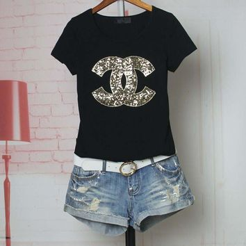 """""""Chanel"""" Women Casual Fashion Sequins Letter Logo Embroidery Short Sleeve Shirt Top Tee"""