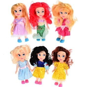BOHS Animators Dolls Princess Snow White Ariel Rapunzel Cinderella Aurora Belle Gift for Girls Baby Toys 6.5inch/16cm