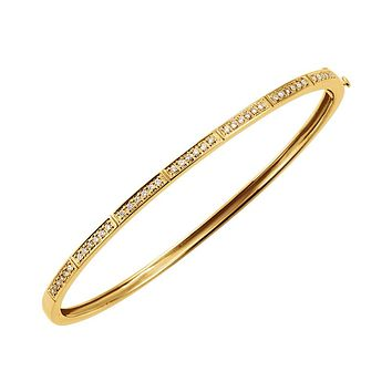 14k Yellow Gold 1/3 Ctw Diamond 3mm Hinged Bangle Bracelet