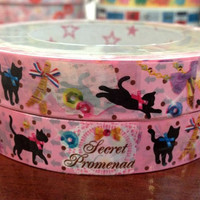 French Cat Deco Tape Adhesive Stickers DT467 25 meters