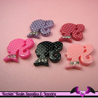 5 pcs Polka-dot PONYTAIL GIRL SILHOUETTE with Rhinestones Decoden Kawaii Flatback Resin Cabochons / Charms 20x20mm