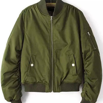 Army Green Zipper Cropped Jacket with Pocket