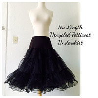 Tea Length Petticoat SWING 50s Style Black Sheer Ruffled Upcycled diy Underskirt Crinoline 1950s Rockabilly Mod Bride by HARDLEY DANGEROUS