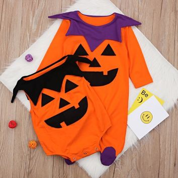 Halloween Newborn Baby Boy Girls Clothes Pumpkin Printed Long Sleeve Romper Jumpsuit Kids Halloween Clothes Outfit Costume