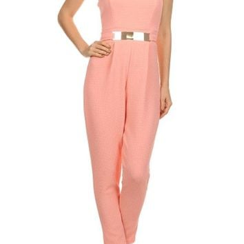 Women Solid Color Belted Sweetheart Neckline Strapless Full Length Jumpsuit