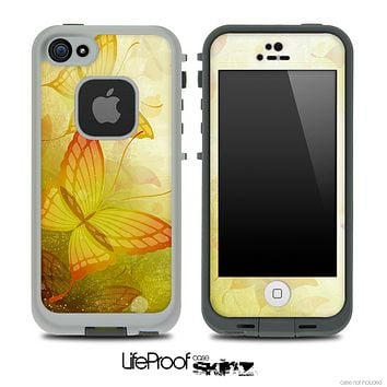 Yellow Butterfly Skin for the iPhone 5 or 4/4s LifeProof Case
