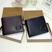 """Gucci"" Men Purse Fashion Simple Classic Embossed Letter Solid Color Short Section Fold Wallet"