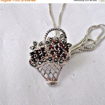 Sterling Basket Garnet Marcasite Flower Pendant Necklace, Sterling Garnet Basket Brooch