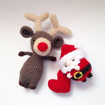 Amigurumi Reindeer Amigurumi Santa with Crochet Heart Crochet Reindeer Crochet Santa Crochet Doll Stuffed Animal Plush Christmas Gift Ideas