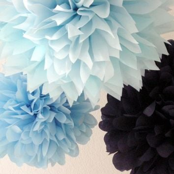 Little Boy Blue ... 3 tissue paper poms // nursery // birthday // graduation // gender reveal // bar mitzvah // party decorations