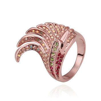 Rose Gold Plated Spiral Curved Cocktail Ring