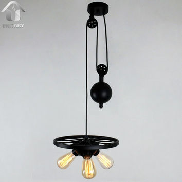 Black Vintage One Metal Wheel Hanging Ceiling Pulley Pendant Light Max. 120W with 3 Lights Painted Finish