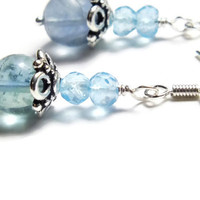 Blue Topaz Earrings, Fluorite Earrings, Sterling Silver Swiss Blue Topaz  Dangles, Blue Earrings