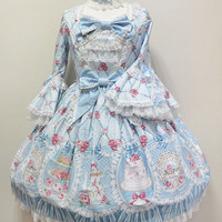 Salon de the Rose One Piece - Sax [152PO2-3686-sx] - $417.00 : Angelic Pretty USA