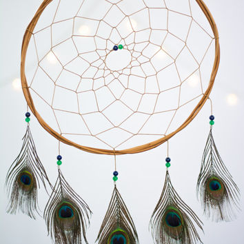 Dreamcatcher Peacock - Boho Girls Boys Wall Hanging DreamCatcher Baby Tribal Crib Baby Feathers New Baby nursery
