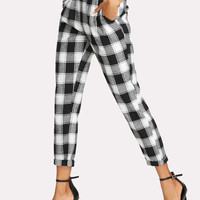 Zip Up Tapered Plaid Pants -SheIn(Sheinside)