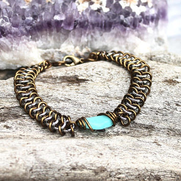 Amazonite Bracelet - Wedding Jewelry - Gift Idea Handmade Wire Wrapped Stone Bracelet - Smooth Stone Jewelry - Gypsy Bracelet - Boho Jewelry