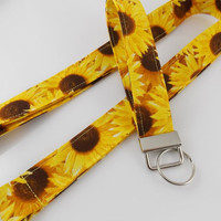 Sunflower Lanyard Floral Lanyard Sunflower Key Fob Sunflower Key Ring Teacher Lanyard Florist Lanyard Garden Lanyard Sunflowers