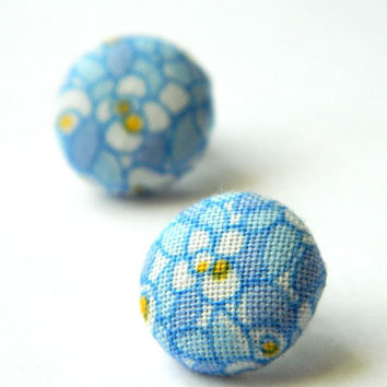 Button Earrings Blue Flower Abstract Indie Retro by PushTheButtons