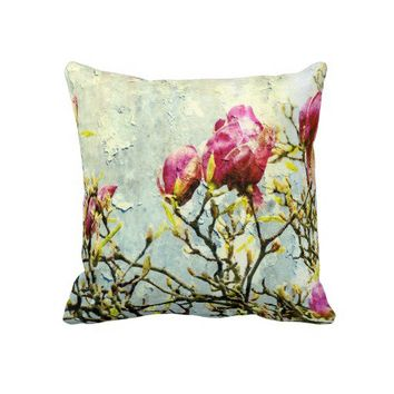 Rusted Magnolia Throw Pillow from Zazzle.com