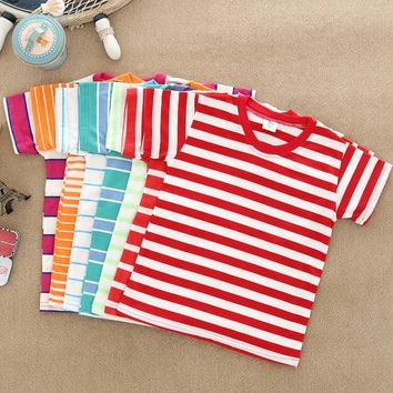 2016 fashion children clothing t shirt stripe cotton boys&girls Short sleeve t-shirt 2-6 years old kids baby shirt