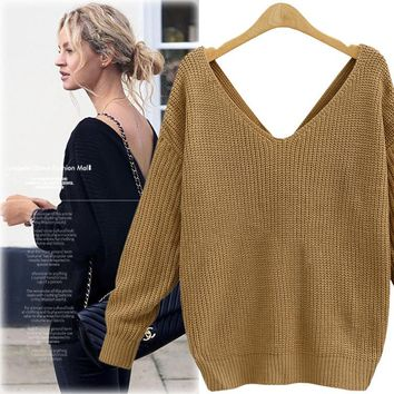 Long Sleeve Knit V-neck Backless Tops Women's Fashion Sweater [37752471578]