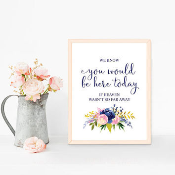 We know you would be here today if heaven wasn't so far away, Printable sign, In loving memory sign, Navy blue pink wedding remembrance sign