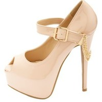 Chain-Draped Peep Toe Mega Platform Pumps by Charlotte Russe