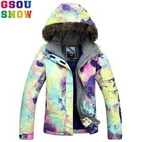 GSOU SNOW Brand Ski Jacket Women Snowboard Jacket Waterproof Fur Hooded Winter Outdoor Skiing Snowboarding Sport Snow Coat