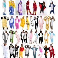 TOPUnisex Adult Flannel Pajamas Adults Cosplay Cartoon Cute Animal Onesuits Pyjama Sets Sleepwear Pikachu/Stitch/Unicorn/Tiger