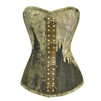 VG-106 Vintage Printed Canvas Overbust Corset