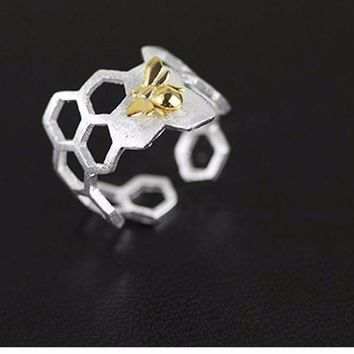 Silver Fine Honeycomb Home Guard Gold Bee Design Open Ring