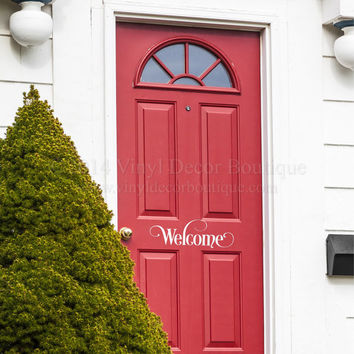 Welcome Front Door Decal Vinyl Lettering Wall Words Wall Art Welcome Front Door Decal