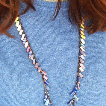 Rainbow Necklace in Chevron Glass, Circus Jewelry, Playful Necklace, Circus Necklace, Playful Jewelry, Fun Fringe Necklace, Carneval Jewelry