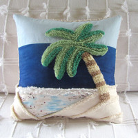beach decor OASIS chenille handmade pillow cover 14 X 14 palm tree cottage nautical pillow cushion cover