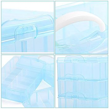 EYX Formula Plastic Transparent Handle Three Layers 30 Grids Storage Box Case,Portable Removable DIY Organize Box Makeup Box for Home Use
