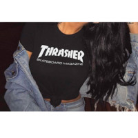 """Thrasher""short sleeve leisure fashion T-shirt top  Black"