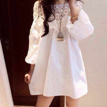 New Fashion Korean Style Lace lantern Long Sleeve  Openwork Crochet Loose Skirt Maternity Dress = 1946755460