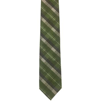 Dockers Plaid Narrow Viscose Polyester Blend Tie - Green